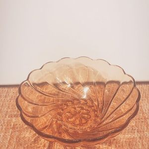 Vintage Large Amber Glass Swirl Fruit Bowl